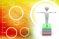 3D Man With a Briefcase Standing On Top On Books I Royalty Free Stock Photos