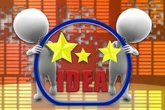 3D man brilliant idea illustration Royalty Free Stock Images
