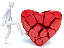 3d man and broken heart.  Royalty Free Stock Photos