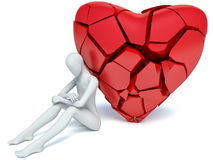3d man and broken heart.  Royalty Free Stock Images