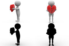 3d man broken heart concept collections with alpha and shadow channel Royalty Free Stock Image