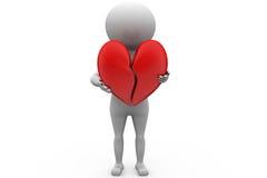 3d man broken heart concept Royalty Free Stock Photography