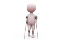3d man with broken leg concept Royalty Free Stock Photos