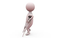 3d man with broken leg concept Stock Images