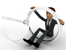 3d man with broken magnifying glass concept Royalty Free Stock Images