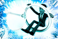 3d man with broken magnifying glass illustration Royalty Free Stock Image