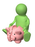 3d man with broken piggy bank Royalty Free Stock Photography