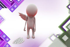 3d man with broken wing  illustration Stock Photography