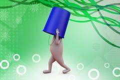 3d man bucket on head  illustration Stock Photography