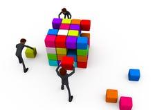 3d man build cube concept Stock Image