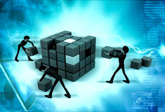 3d man build cube concept Royalty Free Stock Photography