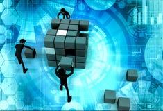 3d man build cube concept Royalty Free Stock Photos