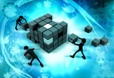3d man build cube concept Royalty Free Stock Photo
