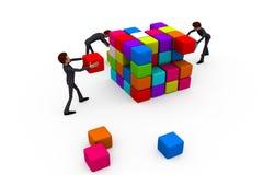 3d man build cube concept Stock Images