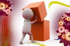 3d man build cube  illustration Stock Photo