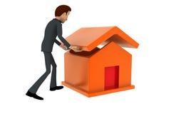 3d man build house concept Stock Photos