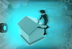 3d man build house illustration Royalty Free Stock Photography