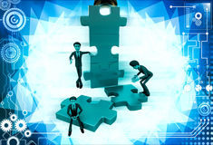 3d man build puzzle builing illustration Royalty Free Stock Photos