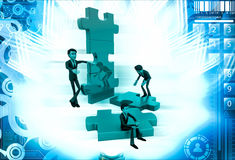 3d man build puzzle builing illustration Stock Photos