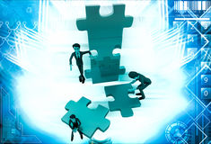 3d man build puzzle builing illustration Royalty Free Stock Image