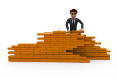 3d man build wall concept Royalty Free Stock Photo