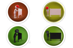 3d Man builder with board concept icon Royalty Free Stock Images