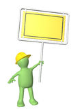 3d man-builder with emergency billboard. Isolated on white background. 3d render Royalty Free Stock Images
