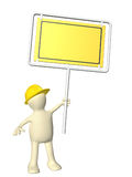 3d man-builder with emergency billboard. On white background. 3d render Stock Photos