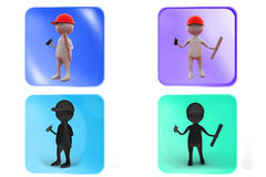 3d man builder icon Royalty Free Stock Photography
