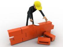 3d man builder wall with brick concept Stock Image
