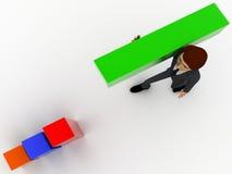 3d man building bar graph from long rectangular cubes concept Stock Image