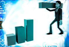 3d man building bar graph from long rectangular cubes illustration Stock Photos