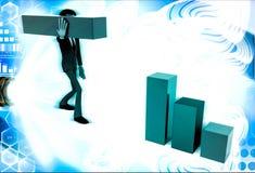 3d man building bar graph from long rectangular cubes illustration Stock Images