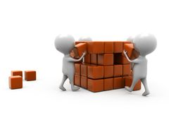 3d man building cube concept Stock Image