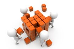 3d man building cube concept Royalty Free Stock Photography