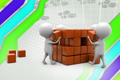 3d man building cube  illustration Royalty Free Stock Photography