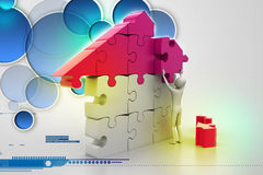 3d man, building the house Stock Photography