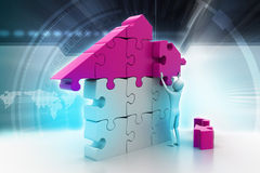 3d man, building the house Royalty Free Stock Images
