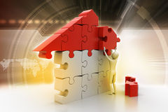 3d man, building the house Stock Image