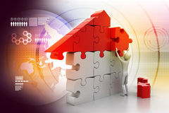 3d man, building the house Royalty Free Stock Photography