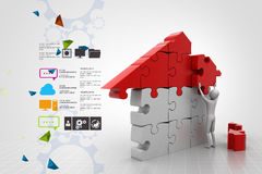 3d man, building the house Stock Images