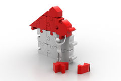 3d man, building the house Royalty Free Stock Photo