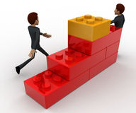 3d man building stairs and climbing stairs concept Stock Image