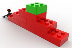3d man building stairs from toys concept Royalty Free Stock Photos
