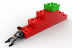 3d man building stairs from toys concept Stock Images