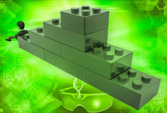 3d man building stairs from toys illustration Stock Images