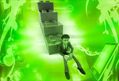 3d man building stairs from toys illustration Stock Photos