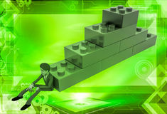 3d man building stairs from toys illustration Royalty Free Stock Photography