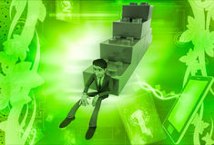 3d man building stairs from toys illustration Stock Image
