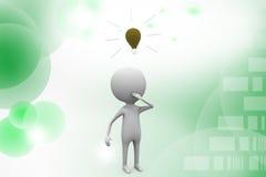 3d man bulb illustration Royalty Free Stock Photo